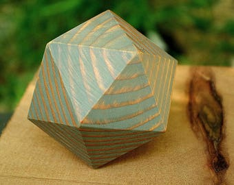 Solid Wood Icosahedron (d20), small