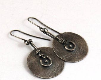 SALE 15% off !! - use the coupon code: SALE15 simple silver earrings, oxidized silver earrings