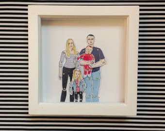 Family portrait custom, family paper doll set, all work comes signed and wrapped ready for gifting, great gift for paper anniversary