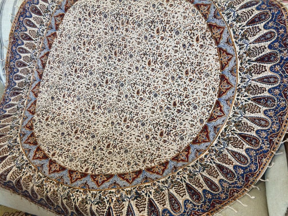 """Traditional original hand printed round tablecloth 60"""", cotton tapestry with natural dyes and tassels"""