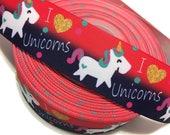 I Love Unicorns Ribbon, I heart Unicorns Grosgrain Ribbon,