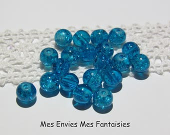20 6mm Turqouise blue cracked glass beads