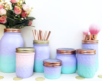Mermaid jar, Ombre mason jar, mermaid party decorations, makeup pot, teen girl gift, mermaid makeup brush holder, dressing table accessories
