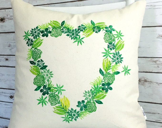 Organic canvas heart wreath pillow cover - greens.  Ready to ship.