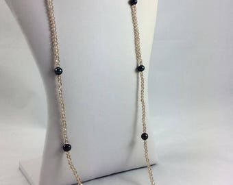 Long Swarovski Crystals Necklace with Freshwater Black Pearls