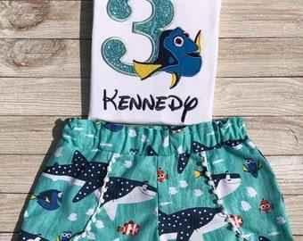 Blue Fish Outfit Set, baby dory set, birthday set
