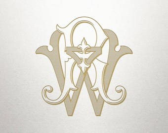 Vintage Wedding Monogram - RW WR - Wedding Monogram - Digital