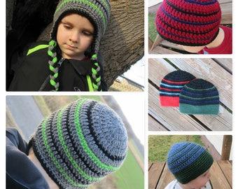 Crochet Boy Hat/Boy Beanie/Crochet Ear Flap Hat/Toddler Hat/Baby Boy Hat/Crochet Boys Hat/Crochet Boys Winter Hat/Crochet Kid's Hat