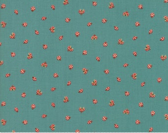 Lucky Day Ladybug in Pond Cotton Fabric by Momo for Moda, Japanese Fabric, Ladybugs, Turquoise
