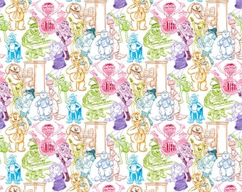 Disney Muppets Rainbow Sketched Cotton Fabric from Springs Creative, Miss Piggy, Kermit, Fozzie, Muppets