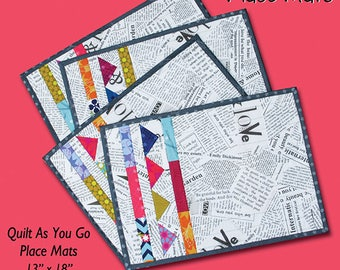 Friday Fiesta Placemat Pattern by Gudrun Erla for GE Designs, Quilt As You Go Placemats, Place mat pattern