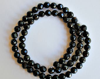 Natural Black Onyx Faceted Round 6mm Loose Beads, Natural Gemstone Beads, Semi precious Gemstone Beads, Onyx Beads, Wholesale Beads