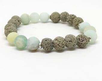 Matte Amazonite Gray Lava Rock Diffuser Bracelet, Lava Rock Bracelet, Oil Bracelet, Essential Oil, Lava Rock Jewelry, Diffuser Jewelry