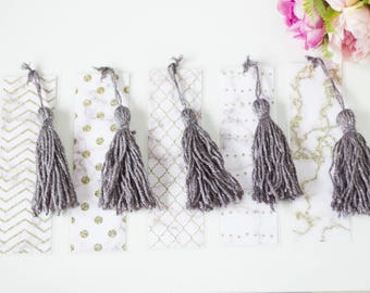 Bookmarks, marble, gold, white bookmarks with tassel