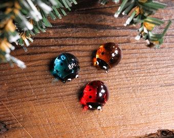 Handmad Glass Turquoise Red Orange Ladybird Ladybug Little Gloss Accessories Embellishment