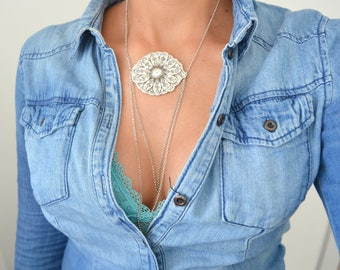 Silver Flower Pendant Statement Chain Necklace, Bohemian Pendant Necklace, Silver Layers Necklace Jewelry, Delicate Silver Layering Jewelry