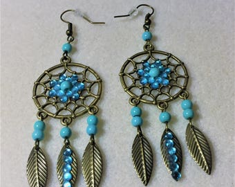 "Earrings ""the dream catcher with bronze and blue"""