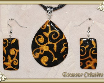 Set necklace earrings black gold 105013