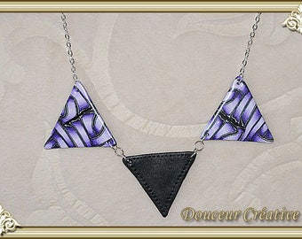Purple necklace purple white black triangle 103078