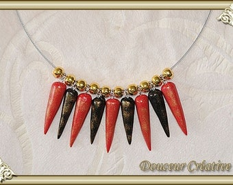 Necklace black red gold Pearl drop 103052