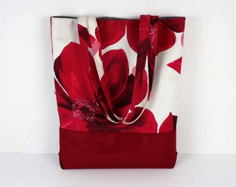 """Poppies"" cotton canvas and Red suede tote bag"