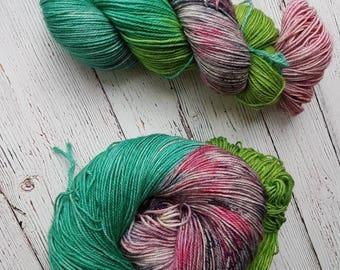 Hand dyed yarn, Superwash 80 BFL 20 Nylon, Sock Weight, 115 gr