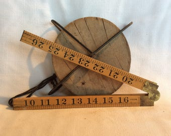 Vintage Sybren carpenter yardstick extending ruler yard superb condition Dutch measuring tool