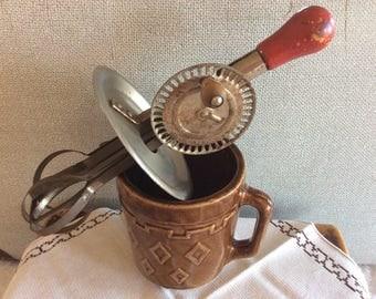 Vintage manual Whip mixer beater wood handle metal egg beater
