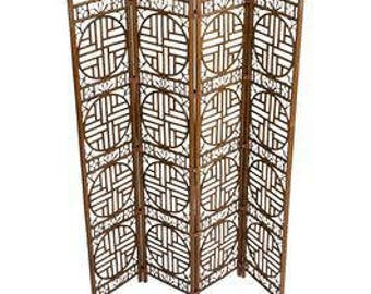 Chinoiserie Bamboo Leather Strapped Folding Screen / Brighton  / Hollywood Regency / Bohemian Modern