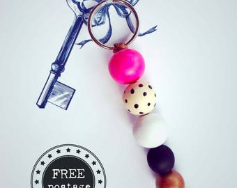 FREE SHIPPING key ring with hot pink, black & bronze accent, key chain, key tag, handmade key chain, handbag charm, handpainted wooden beads