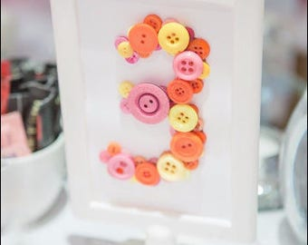 Handmade Button Table Number
