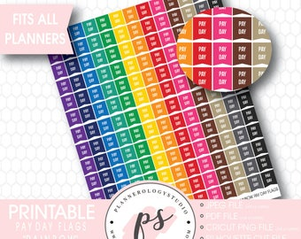 Rainbow Pay Day Flags Printable Planner Stickers (JPG/PDF/Silhouette Cut File)