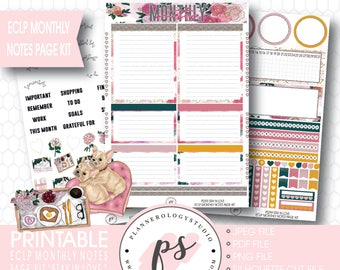 Stay in Love Valentine's Day Theme Monthly Notes Page Kit Printable Planner Stickers (for Erin Condren ECLP) | JPG/PDF/Silhouette Cut File