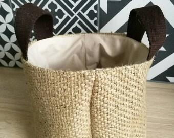 Storage basket 14 x 14 burlap and cotton