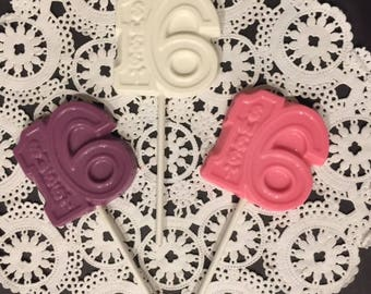 Sweet 16 Chocolate Lollipops(12 qty) - 16th Birthday/Sweet 16/Sweet Sixteen Party/16th Birthday Favor/Sweet 16 Party/Sweet 16 Birthday