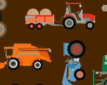 Tractor, harvester combines in brown cotton jersey