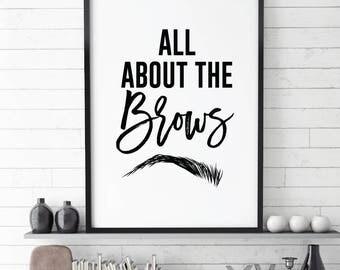 Makeup Print, Eyebrow Print, Make up Printable, minimal prints, Room Decor Prints,all about the brow, eyebrow, beauty prints, Makeup Decor,