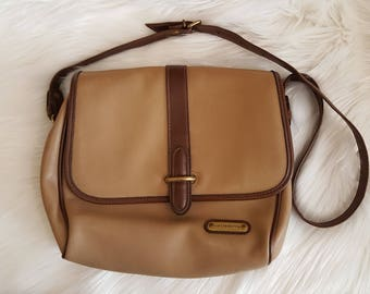 Vintage Liz Claiborne Beige and Brown Shoulder Bag Purse