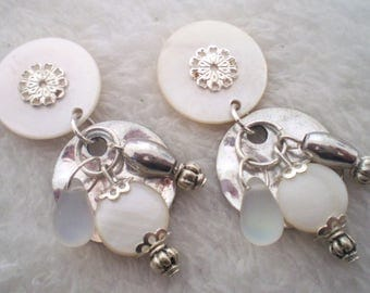 Earring clips white Dinard (made in France)