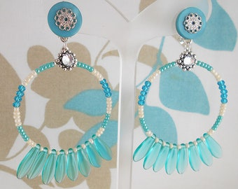 Earrings clips turquoise Cactus (made in France)