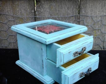 Jewelry Box Hand-Painted, Distressed, Turquoise