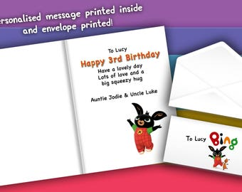 Bing Bunny CBEEBIES FLOP photo personalised Birthday Greetings card with free envelope and postage!