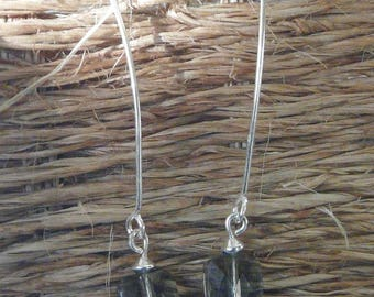 """Square grisette"" silver wire earrings"