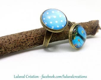 adjustable bronze ring, 2 tree of life glass cabochon