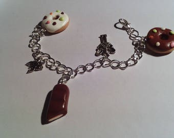 POLYMER CLAY, METAL BRACELET SILVER AND CHARMS VANILLA CHOCOLATE DONUTS