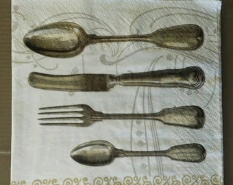 set of 2 paper napkins cutlery great MOM