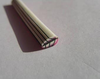 set of 12 leaf black and white fimo cane slices