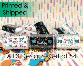 Happy 70th Birthday Party Favor Sticker Decorations for Hershey Miniatures Candy Bars (set of 54 sticker labels)