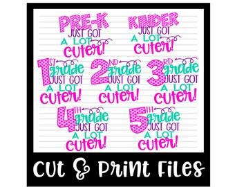 Back to School SVG * School Bundle * Just Got A Lot Cuter Cut File - SVG & DXF Files - Silhouette Cameo/Cricut