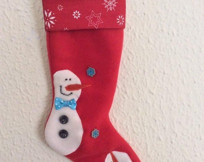 Chaussette de Noël Deux bonhommes de neige